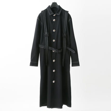 Harness shirt dress (black)