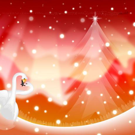 A4イラスト052 オーロラクリスマス