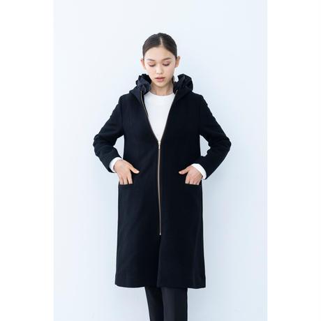 【2018A/W】2wayフリルフードウールコート/ブラック