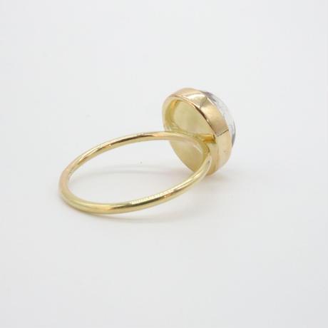 18k  &  Oval Strawberry Quartz Ring
