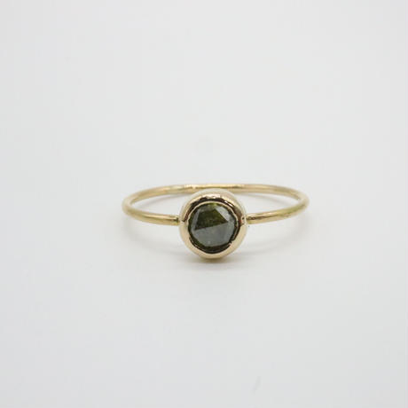 k18  &  Round Rose-Cut Green Diamond Ring