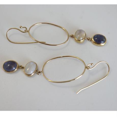 K18 TANZANITE MOONSTONE EARRINGS