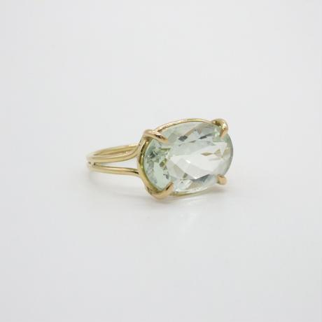 k18  Oval Green Amethyst Ring