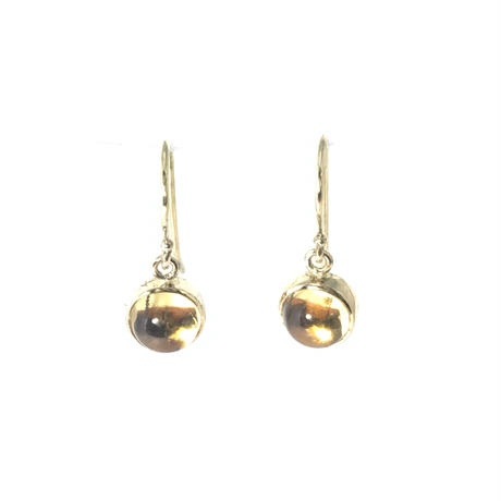 K18 CITRINE ROUND CABOCHON  EARRINGS