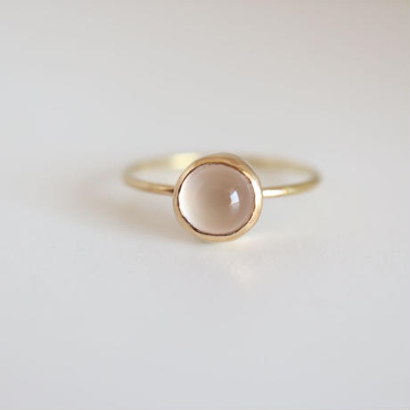 K18  ROSE  QUARTZ  ROUND CABOCHON  RING