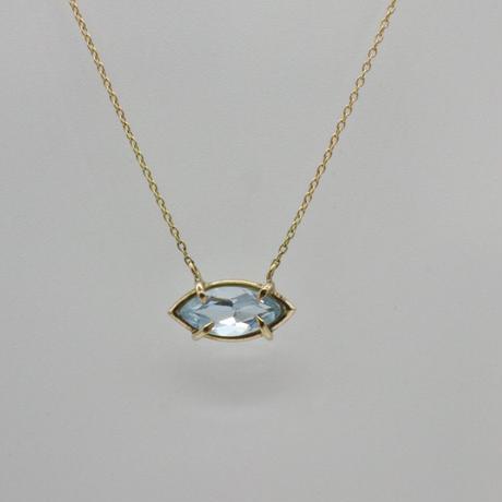 k18 &  Marquise Aquamarine  Necklace