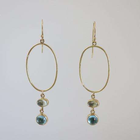 K18 & TOURMALINE BLUE TOPAZ EARRINGS