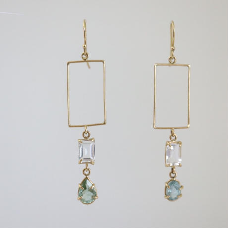 K18 & WHITE TOPAZ TOURMALINE EARRINGS