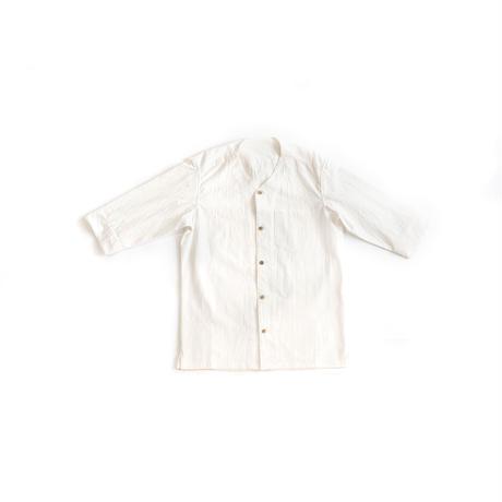 [ノラギシャツ]コットン/襟なし白