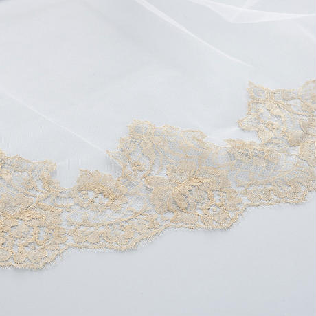 French Wedding Veil V77765.20VLE200  OFF WHITE/GOLD