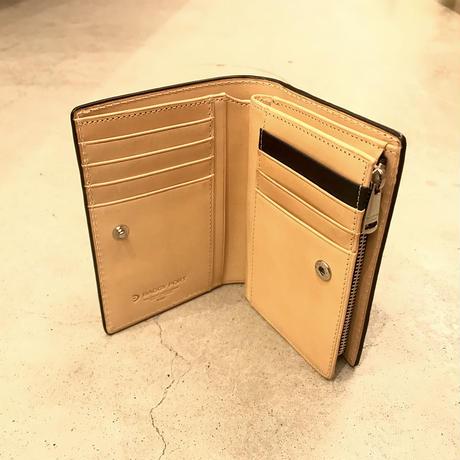 BAGGY PORT 藍染レザー 型押しペイズリー ハーフ財布