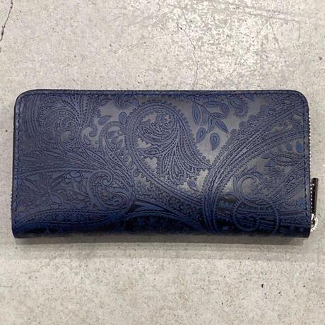 BAGGY PORT 藍染レザー 型押しペイズリー ラウンドファスナー 長財布