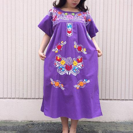 メキシカン刺繍ワンピース(パープル)