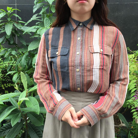 Lauren シルクリネン ストライプ柄シャツ