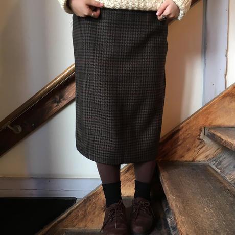 USA製 ブラウン チェック柄ボックススカート