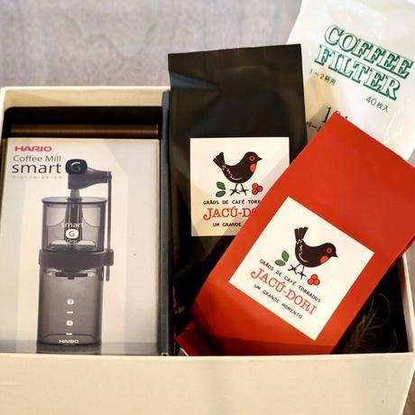 ギフトセット 【 D 】人気のコーヒー豆2種&コーヒーミル&ペーパー