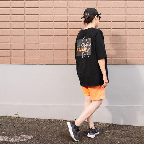 【big silhouette TEE】'hug  sunrise'     -the future is in our hearts- (MCT200801BLK)