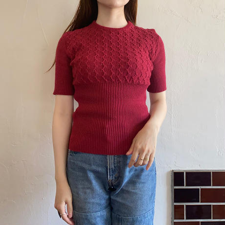 High waist wine red summer knit