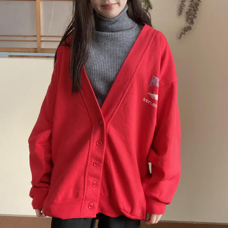 Made in Canada red cardigan with a duck