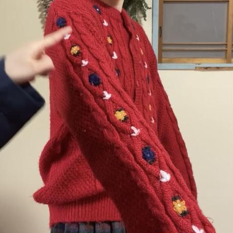 [インスタライブ]70s Flower embroidery red cardigan