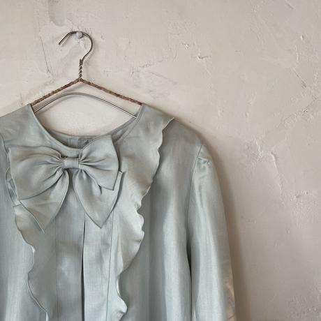 Pastel blue ribbon blouse