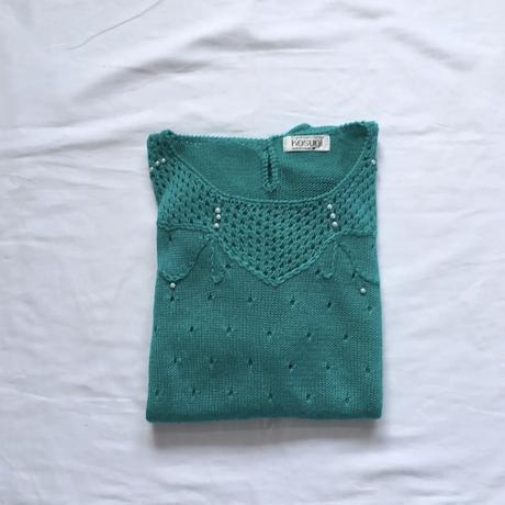 【SALE】Emerald green summer knit
