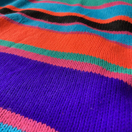 Made in USA 80s colorful border turtle neck sweater
