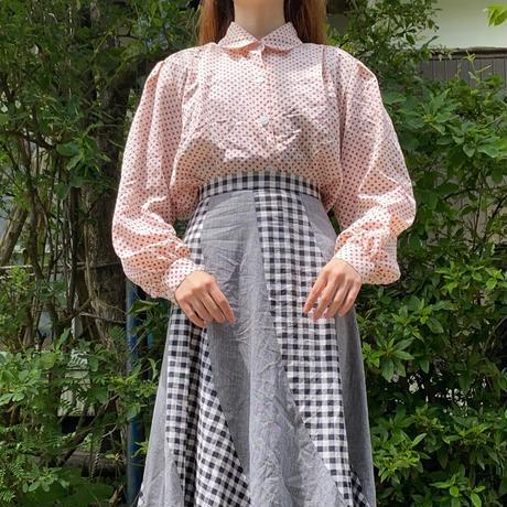 Showa retro pink dot blouse