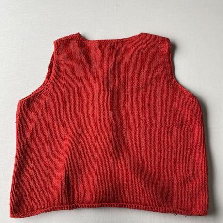 Red knit big botton vest