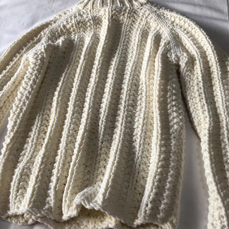 White hand knit sweater