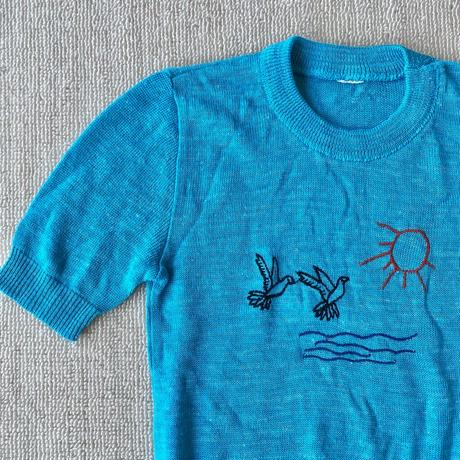 Birds embroidered summer knit