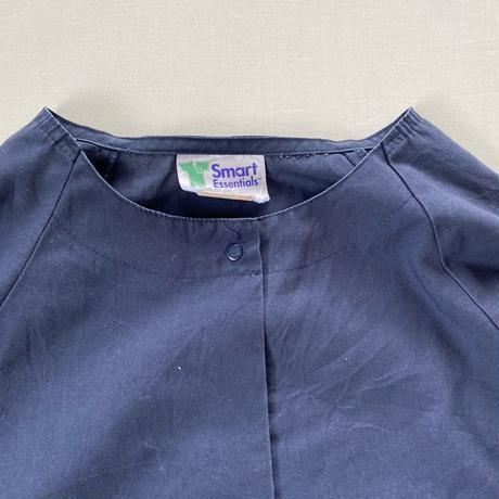 Made in USA collarless shirt navy