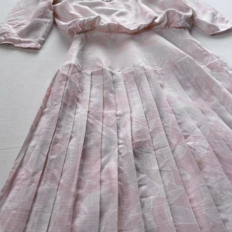 Made in USA 80s pink pleats dress