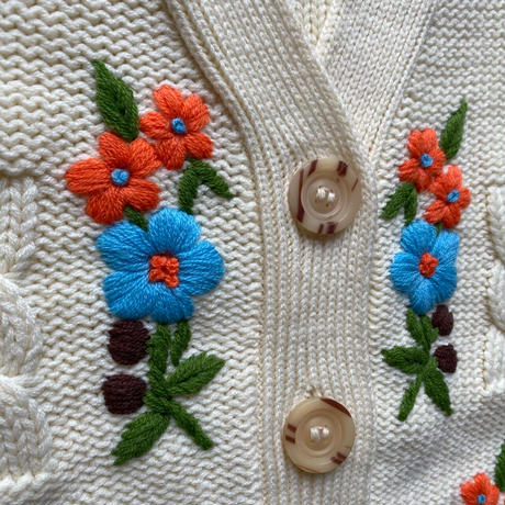 【SALE】Embroidery flowers cardigan