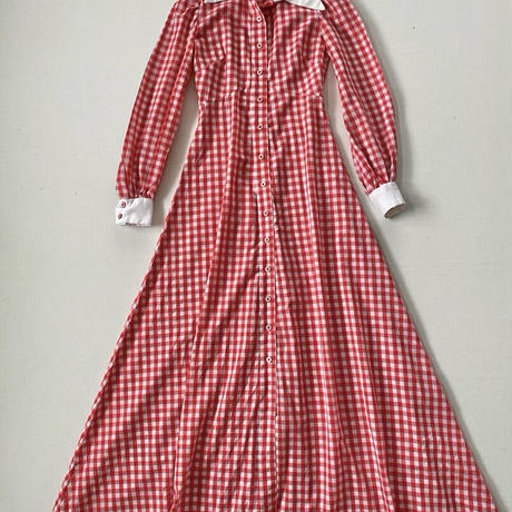 1970s handmade gingham check long dress