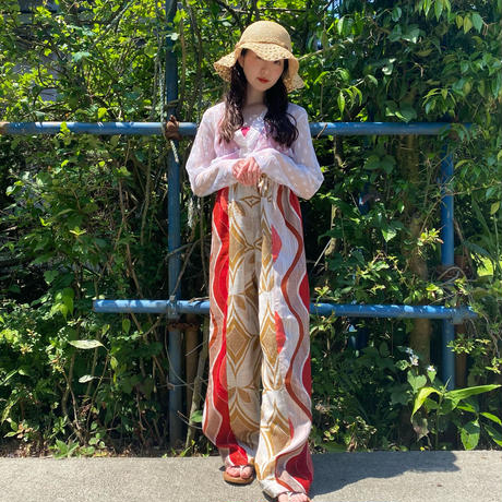 Handmade pants with 70s fabric (Red×brown)