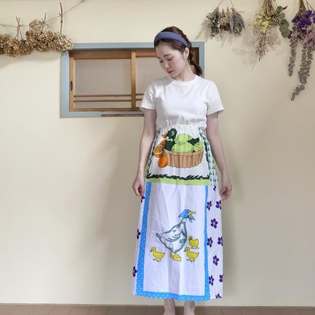 【Sale】Vintage fabric patchwork remake skirt Duck