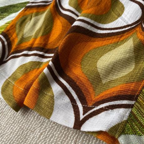 Handmade pants with 70s fabric (Onion orange×Green)