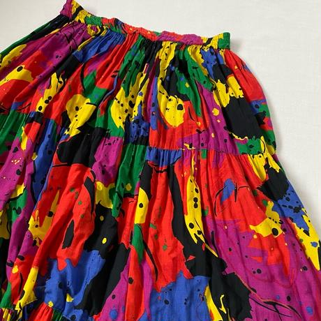 Vivid color colorful tierd skirt