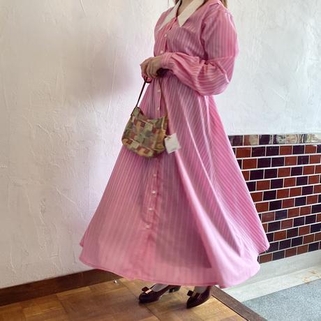 Pink stripe shirt dress