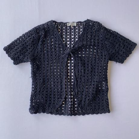Crochet knit short sleeve cardingan