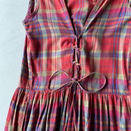 Gingham check apron dress