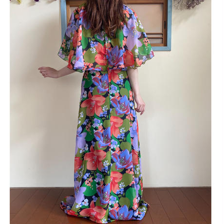 70s butterfly sleeve long dress