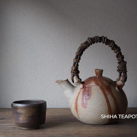 備前急須 Bizen  Reddish lines, TOP Vine handle Dobin   Teapot Kyusu