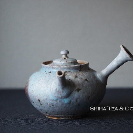 Yamada Sou 山田想急須 Blue Grey Ash Wood Firing White Clay Japanese Ceramic Kyusu Teapot, Tokoname
