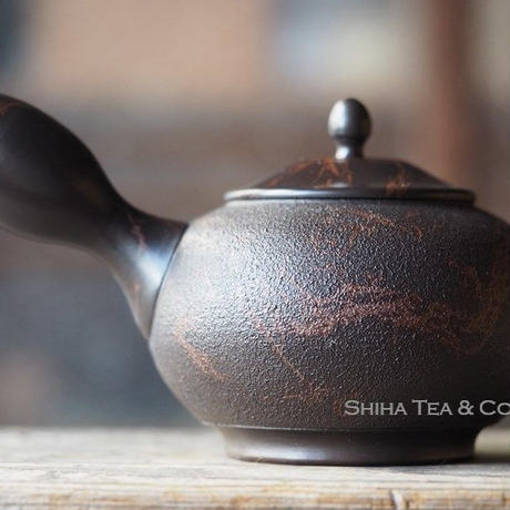 常滑香臣藻挂大理石风格壶急須 KOUSHIN Black Red Mable Seaweed Teapot KYUSU 340ml
