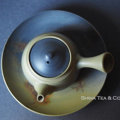 Hakusan 白山急須,  Black smoke on Green clay, Side Handle Japanese Tokoname Ceramic Teapot with Saucer