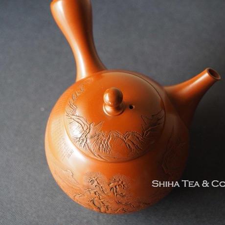 吉川壺堂山水朱泥茶壺急須 Kodo Yoshikawa Teapot Kyusu
