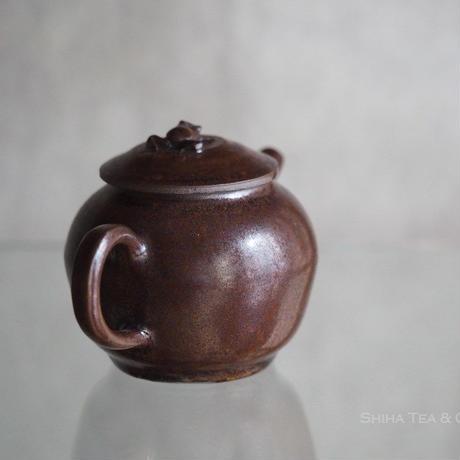 Jinpachi Ogawa 小川甚八急須, Iron Glaze, Frog Lid, Japanese Ceramic Kyusu Teapot