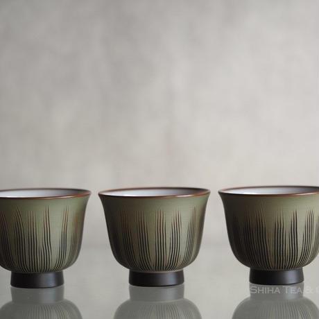 鯉江廣 朱绿泥熏黑内釉煎茶道杯 Reiko  Smoked Black Tea Cup  Set